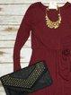 Casual V-neck Soft CottonLong Sleeve  Midi Dress