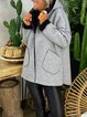 Gray Hoodie Plain Long Sleeve Outerwear