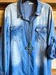Blue Denim Solid Long Sleeve Shirts & Tops