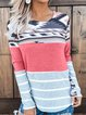 Multicolors Casual Round Neck Cotton-Blend Shirts & Tops