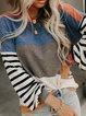 Blue Color-Block Long Sleeve Shirts & Tops