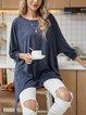 Blue Plain Casual Cotton-Blend Paneled Shirts & Tops