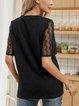 Black Cotton-Blend Paneled Plain Short Sleeve Shirts & Tops