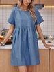 Blue Short Sleeve Cotton-Blend Paneled Crew Neck Dresses