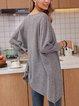 Gray Crew Neck Long Sleeve Cotton-Blend Shirts & Tops