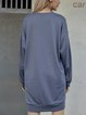 Deep Gray Long Sleeve Cotton-Blend Plain Dresses