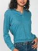 Blue Polo Sweatshirt 70s Plain Long Sleeve
