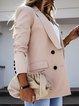 Pink Plain Shift Casual Cotton-Blend Outerwear