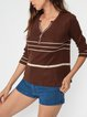 Brown Striped Top 90s Long Sleeve Top Retro T-shirt