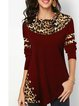 Ladies Leopard Print Button Long Sleeve T-Shirt Ladies Casual Stitching Slim Fit Top