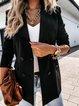 Black Long Sleeve Plain Shift Cotton-Blend Outerwear