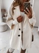 White Plain 3/4 Sleeve Cotton-Blend Outerwear