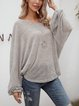 Gray Plain Long Sleeve Shirts & Tops