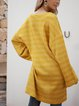 Yellow Crew Neck Striped Paneled Long Sleeve Dresses