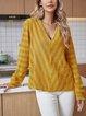 Yellow Paneled Cotton-Blend V Neck Long Sleeve Shirts & Tops