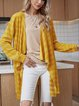 Yellow Solid Cotton-Blend Long Sleeve Paneled Outerwear