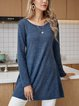 Blue Casual Long Sleeve Solid Dresses
