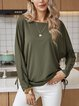 Green Long Sleeve Cotton-Blend Shirts & Tops