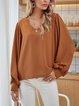 Yellow Cotton-Blend V Neck Plain Long Sleeve Shirts & Tops