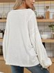 White Paneled Long Sleeve Casual V Neck Shirts & Tops