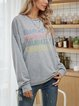 Gray Letter Crew Neck Cotton-Blend Casual Shirts & Tops