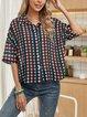 Deep Blue Geometric Cotton-Blend Casual Shawl Collar Shirts & Tops