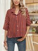 Coffee Shawl Collar Half Sleeve Casual Paneled Shirts & Tops