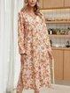 Yellow Cotton-Blend Casual A-Line V Neck Dresses