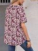 Pink V Neck Short Sleeve Floral Shirts & Tops