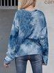Blue Cotton-Blend Long Sleeve Crew Neck Shirts & Tops