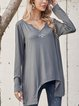 Gray Cotton-Blend Paneled Casual Shirts & Tops