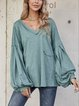 Green Casual Long Sleeve Paneled Shirts & Tops