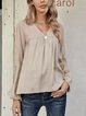 Gray Paneled Cotton-Blend Long Sleeve Shirts & Tops