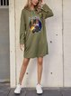 Army Green Cotton-Blend Long Sleeve Dresses