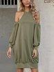 Army Green Shift Crew Neck Cold Shoulder Paneled Dresses