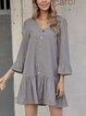 Gray A-Line Casual Frill Sleeve Plain Dresses