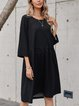 Black 3/4 Sleeve Crew Neck Cotton-Blend Dresses