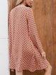Red A-Line V Neck Paneled Long Sleeve Dresses