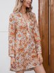 Yellow Long Sleeve Casual Cotton-Blend Dresses
