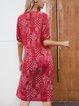 Red Cotton-Blend Floral V Neck Short Sleeve Dresses