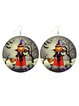 Halloween Wooden Errings Pumpkin Castle Bat Ghost Ear Hook Earrings
