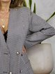 Retro houndstooth collarless suit jacket