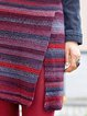 Multi-colored Casual Side Slit Skirt