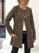 Casual Black Copper Leopard Jacquard Jacket