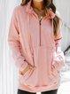 Pink Plain Shift Cotton-Blend Long Sleeve Shirts & Tops