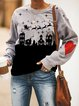 Gray Long Sleeve Holiday Animal Crew Neck Outerwear