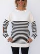 White Black Stripe Sweater With Elbow Patches