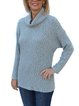 Drop shoulder Cowl neck Loose Textured Knit Sweater Tops