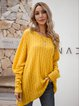 Yellow Plain Casual Cotton-Blend Shirts & Tops