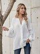 White Casual Plain Cotton-Blend Paneled Shirts & Tops